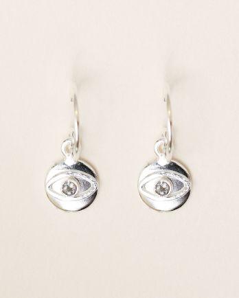 D- earring 8mm coin eye labradorite
