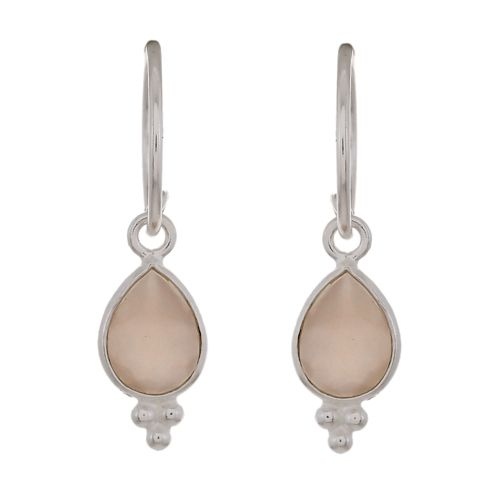 d earring drop 3 balls peach moonstone