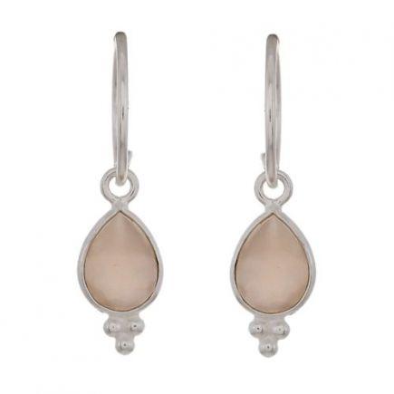 D- earring drop 3 balls peach moonstone