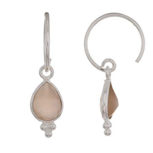 d earring drop 3 balls peach moonstone