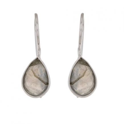 D- earring drop labradorite