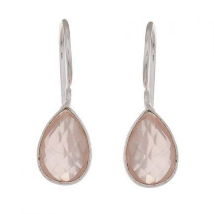 D- earring drop pink chalcedony