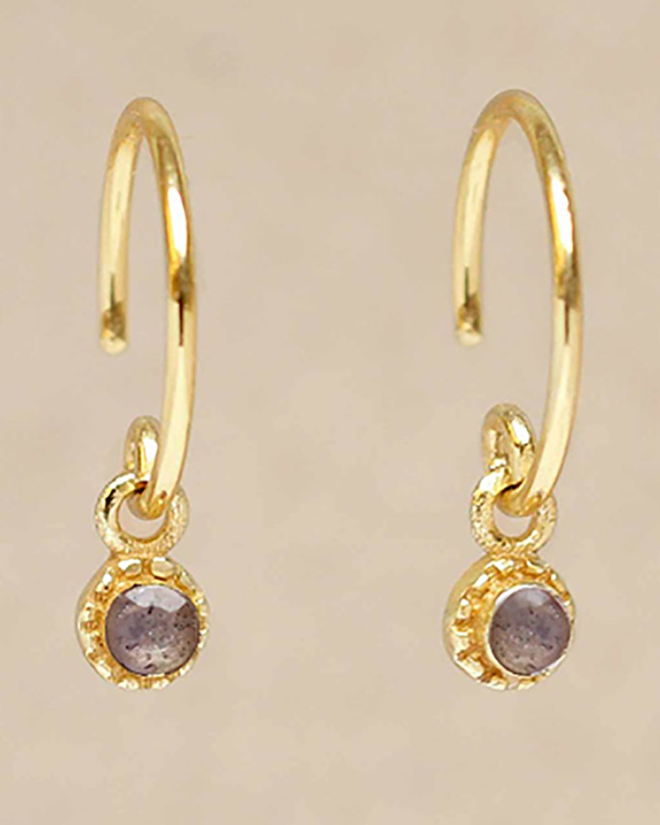 d earring hanging labradorite round with stone gold plated
