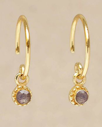 D- earring hanging labradorite round with stone gold plated