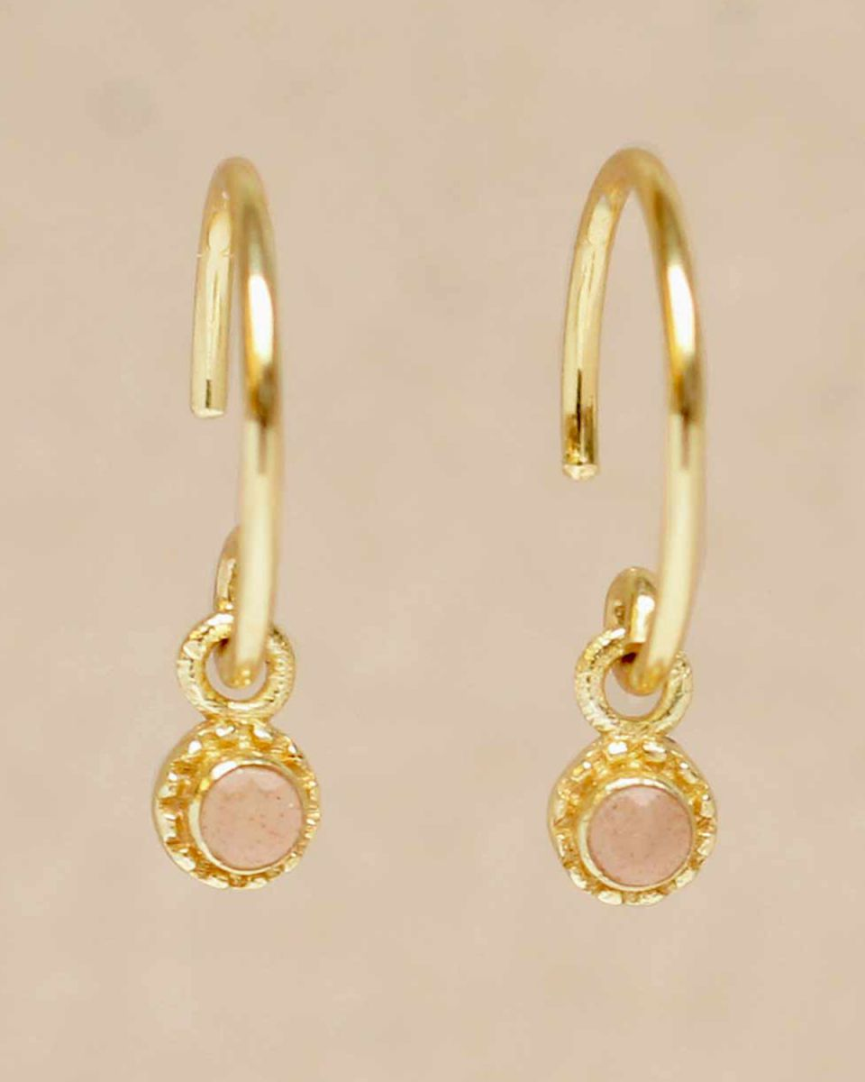 d earring hanging peach moonstone round with stone gold pla