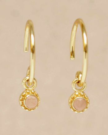 D- earring hanging peach moonstone round with stone gold pla