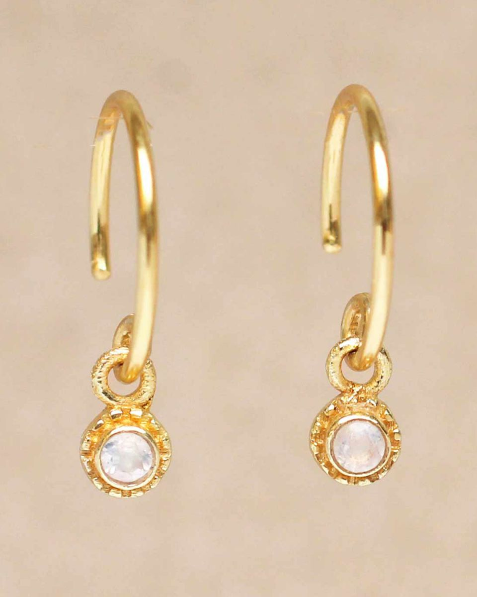d earring hanging white moonstone round with stone gold pla