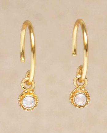 D- earring hanging white moonstone round with stone gold pla