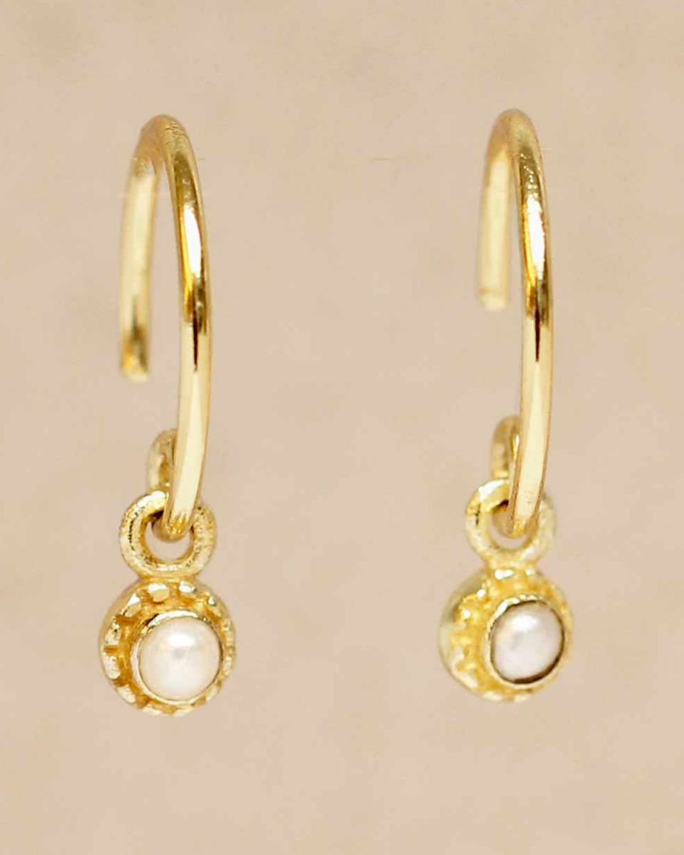 d earring hanging white pearl round with stone gold plated