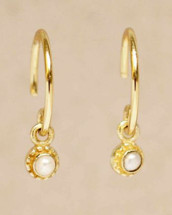 D- earring hanging white pearl round with stone gold plated