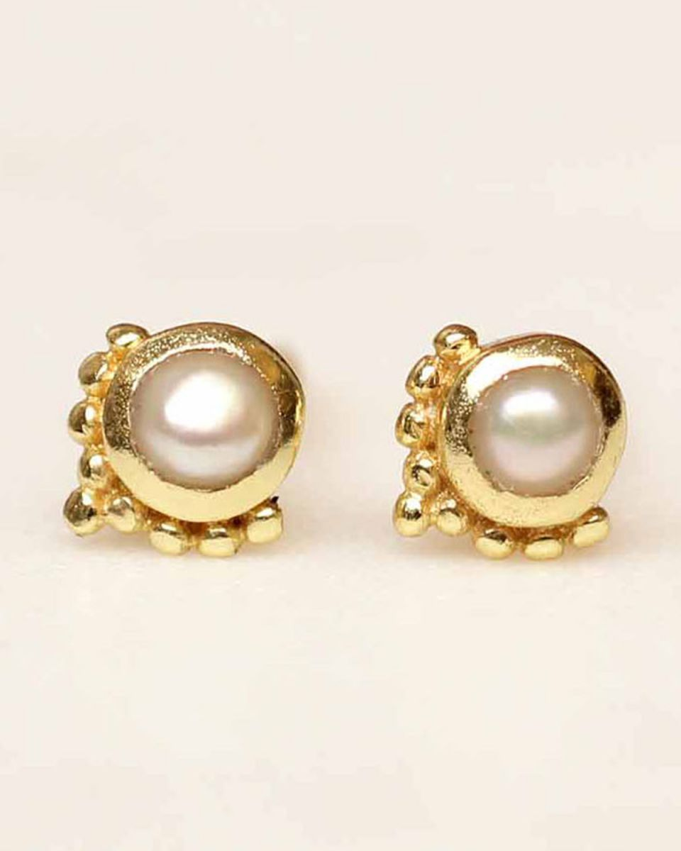 d earring stud etnic pearl gold plated