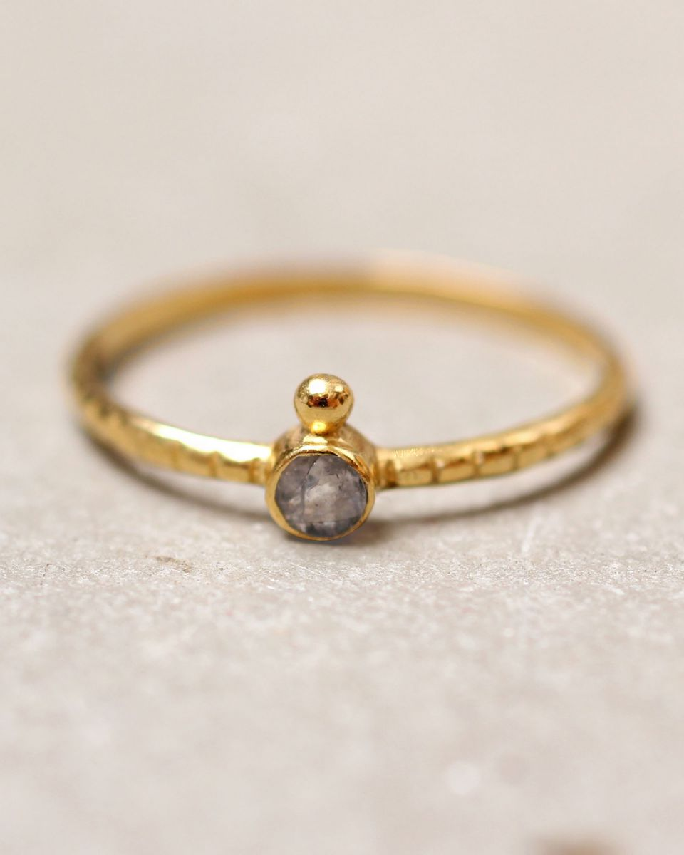 d ring size 52 3mm round 1 dot labradorite gold plated