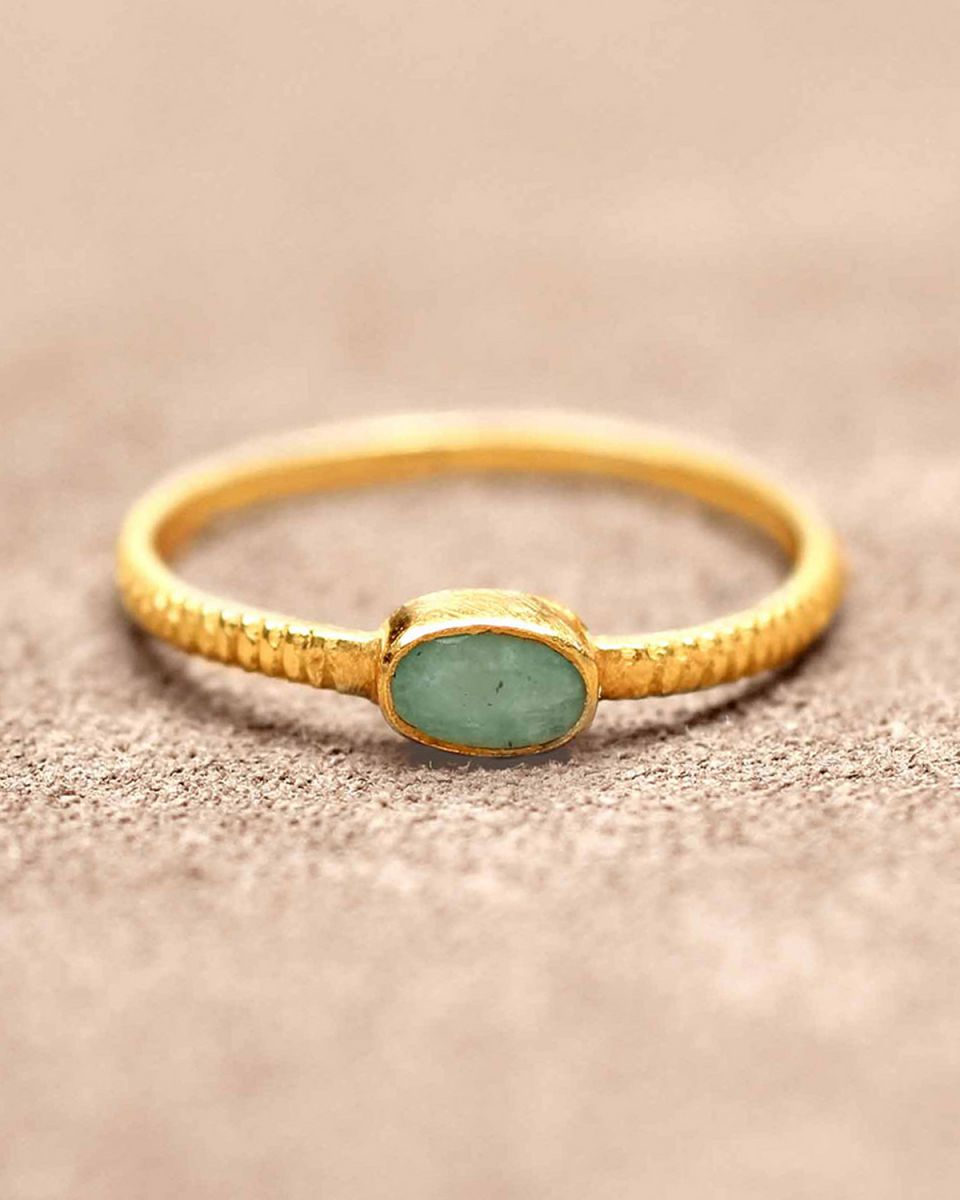 d ring size 52 oval bar amazonite gold plated