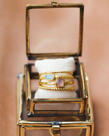 D- ring size 52 square rose quartz
