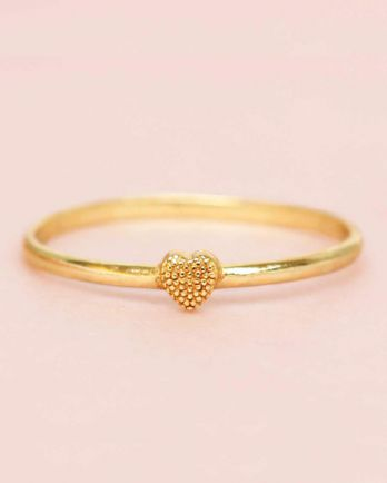 D- ring size 54 heart 3mm gold plated