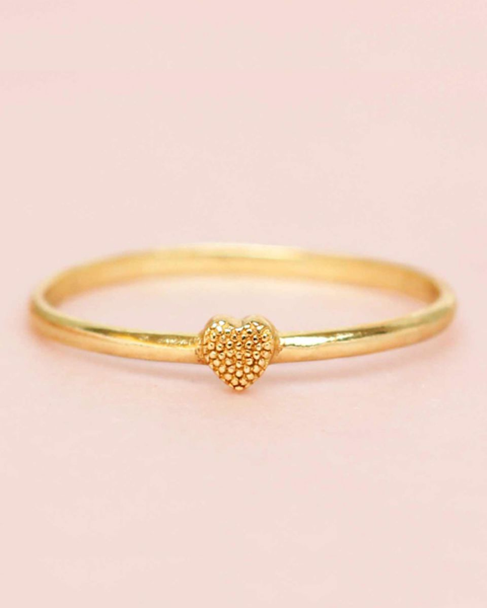 d ring size 54 heart 3mm gold plated