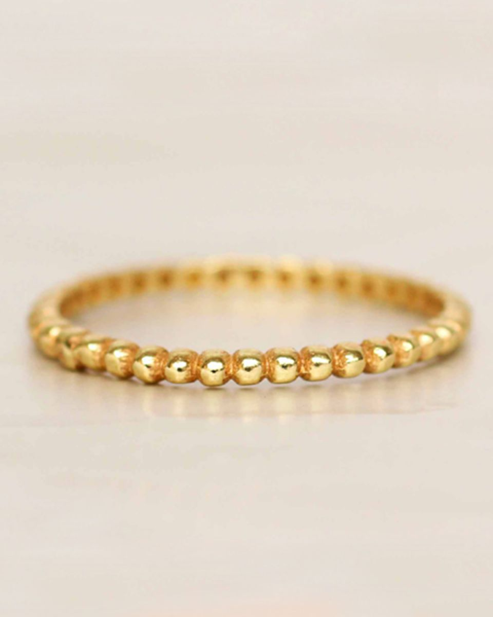 d ring size 54 smalls dots gold plated