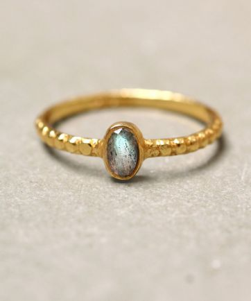 D- ring size 56 oval xs labradorite gold plated