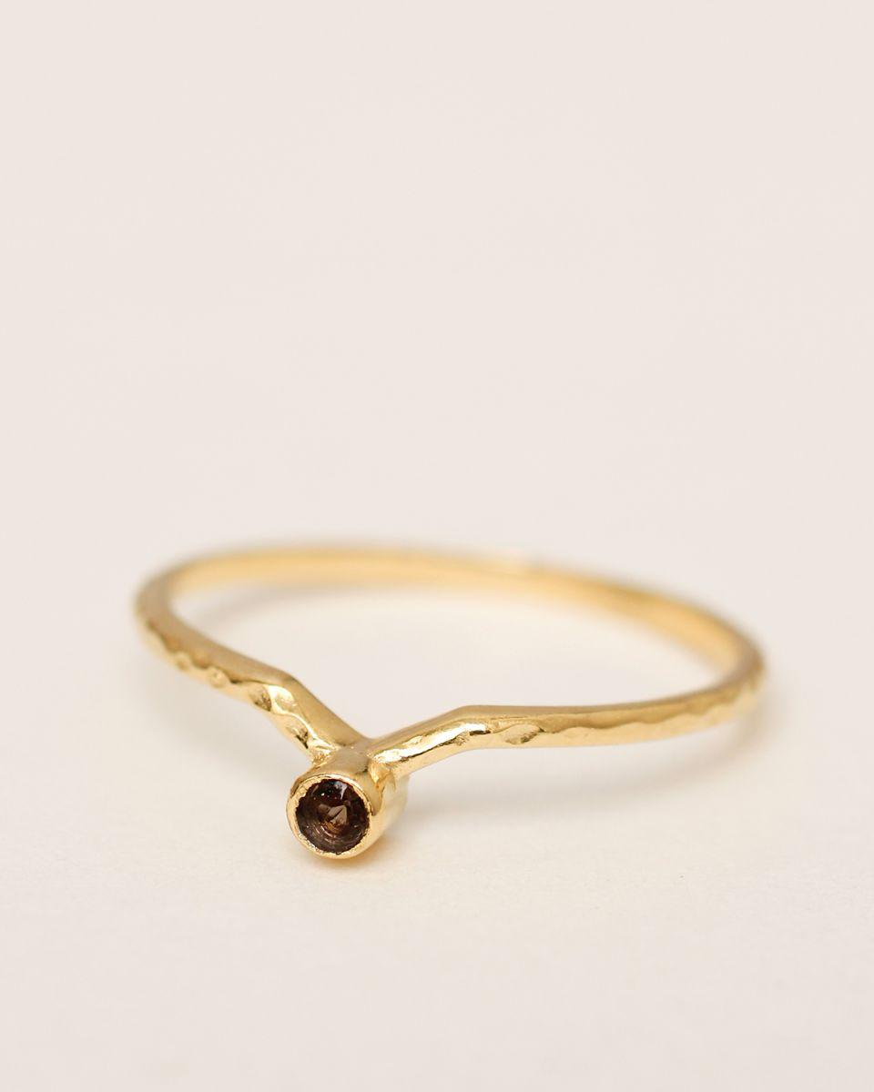 d ring size 56 set outside smokey quartz gold pl