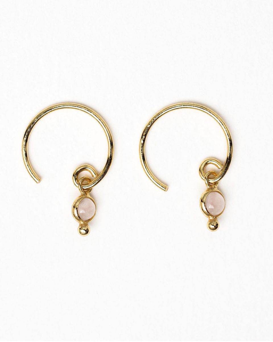 e earring 3mm round dot pink calcedonite gold plated