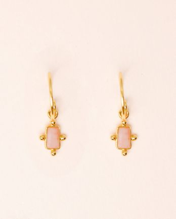 E- earring 5x3mm dots peach moonstone gold plated