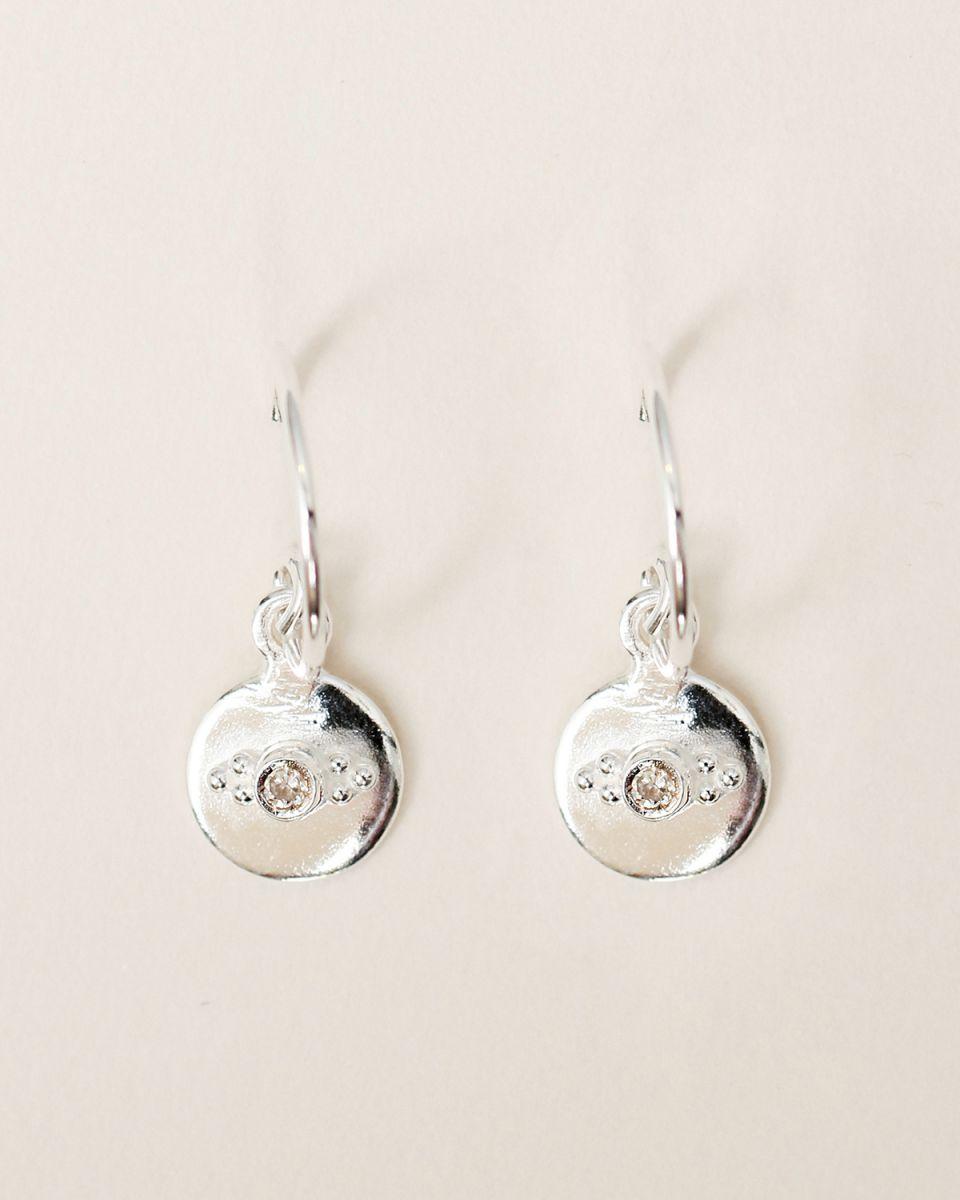 e earring 8mm coin dots zirkonia
