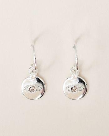 E- earring 8mm coin dots zirkonia