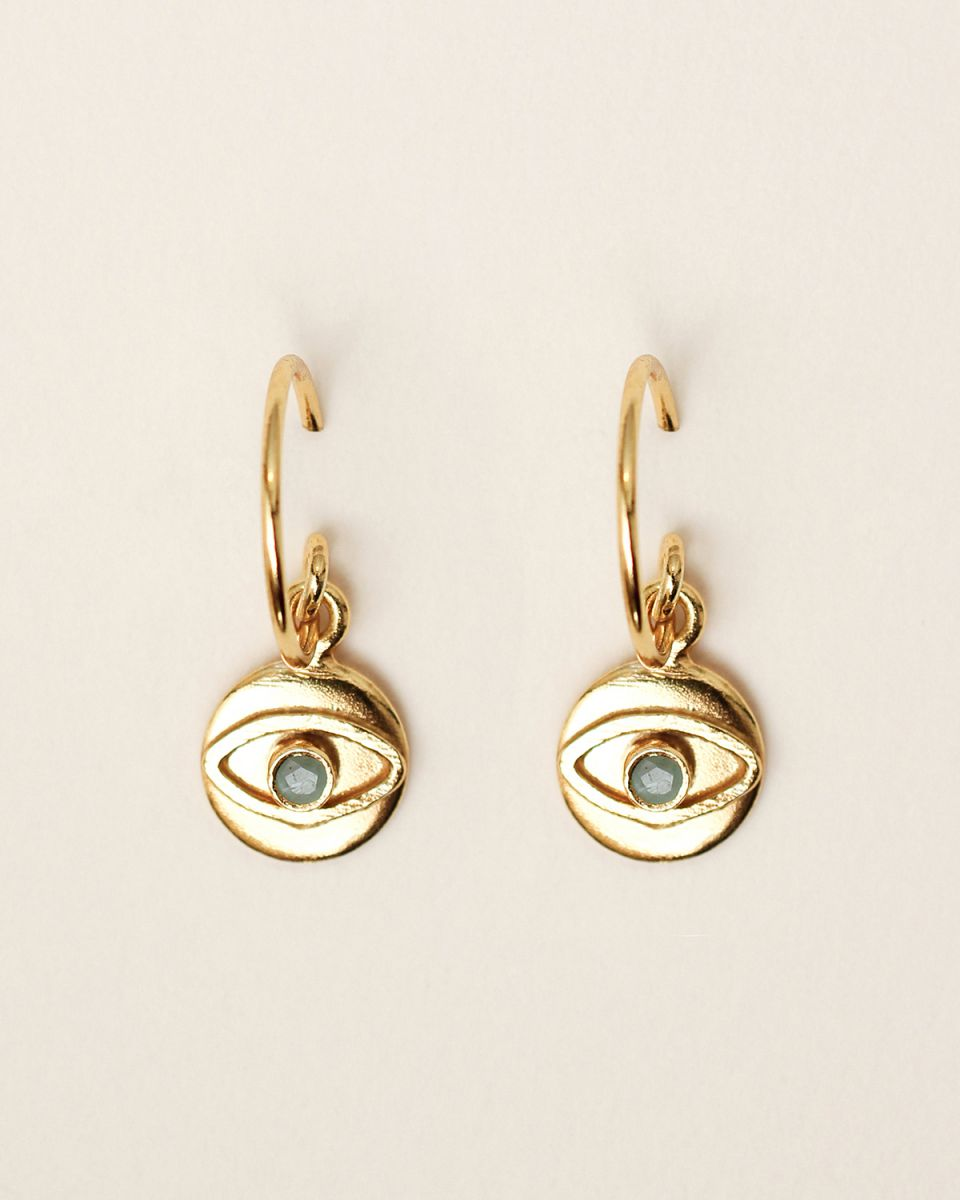 e earring 8mm coin eye amazonite gold plated