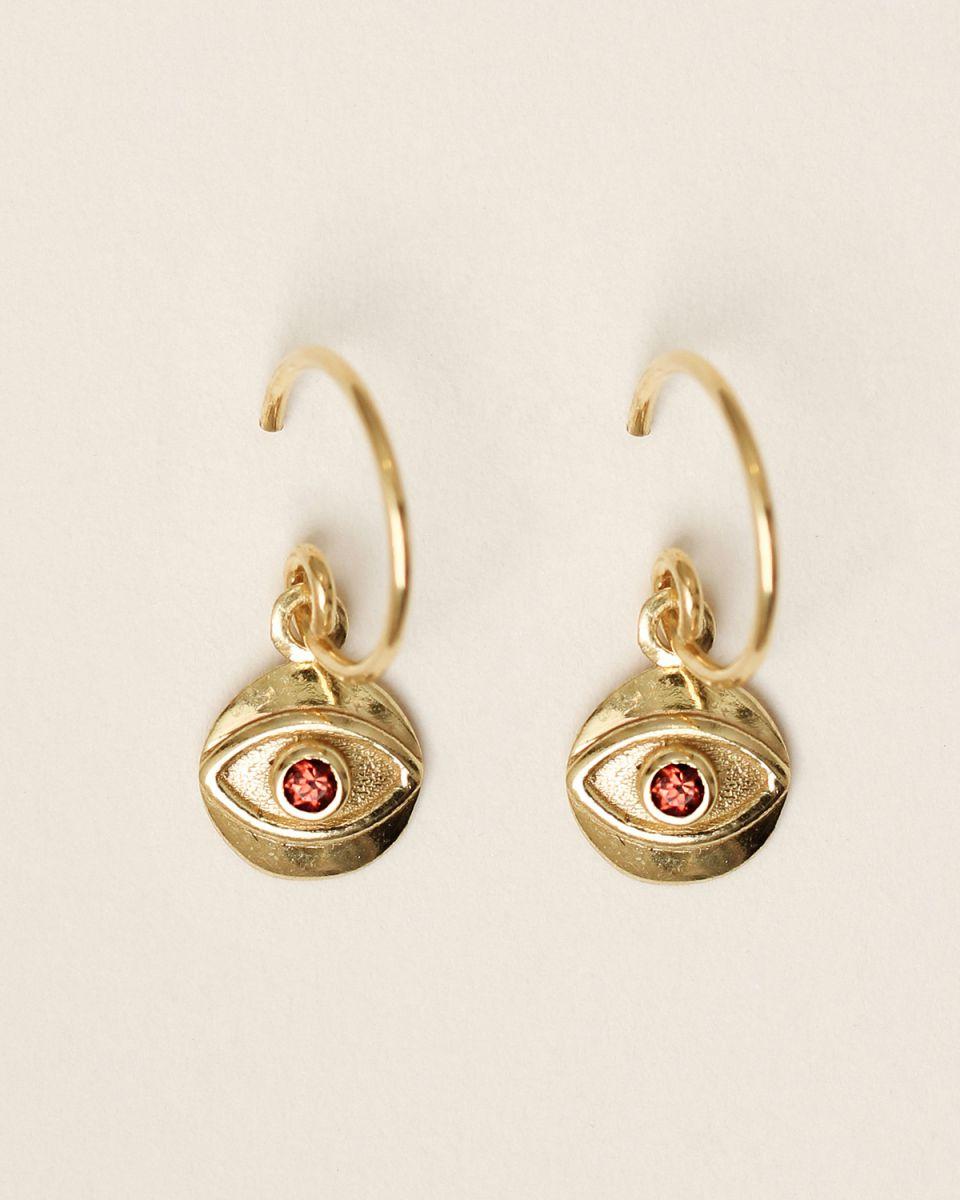 e earring 8mm coin eye garnet gold plated