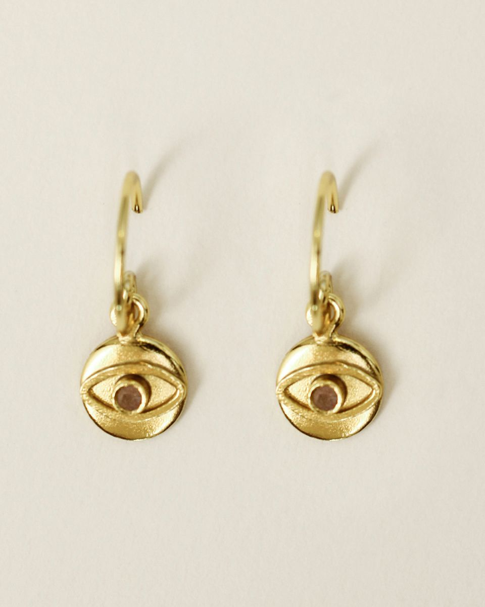 e earring 8mm coin eye peach moonstone gold plated