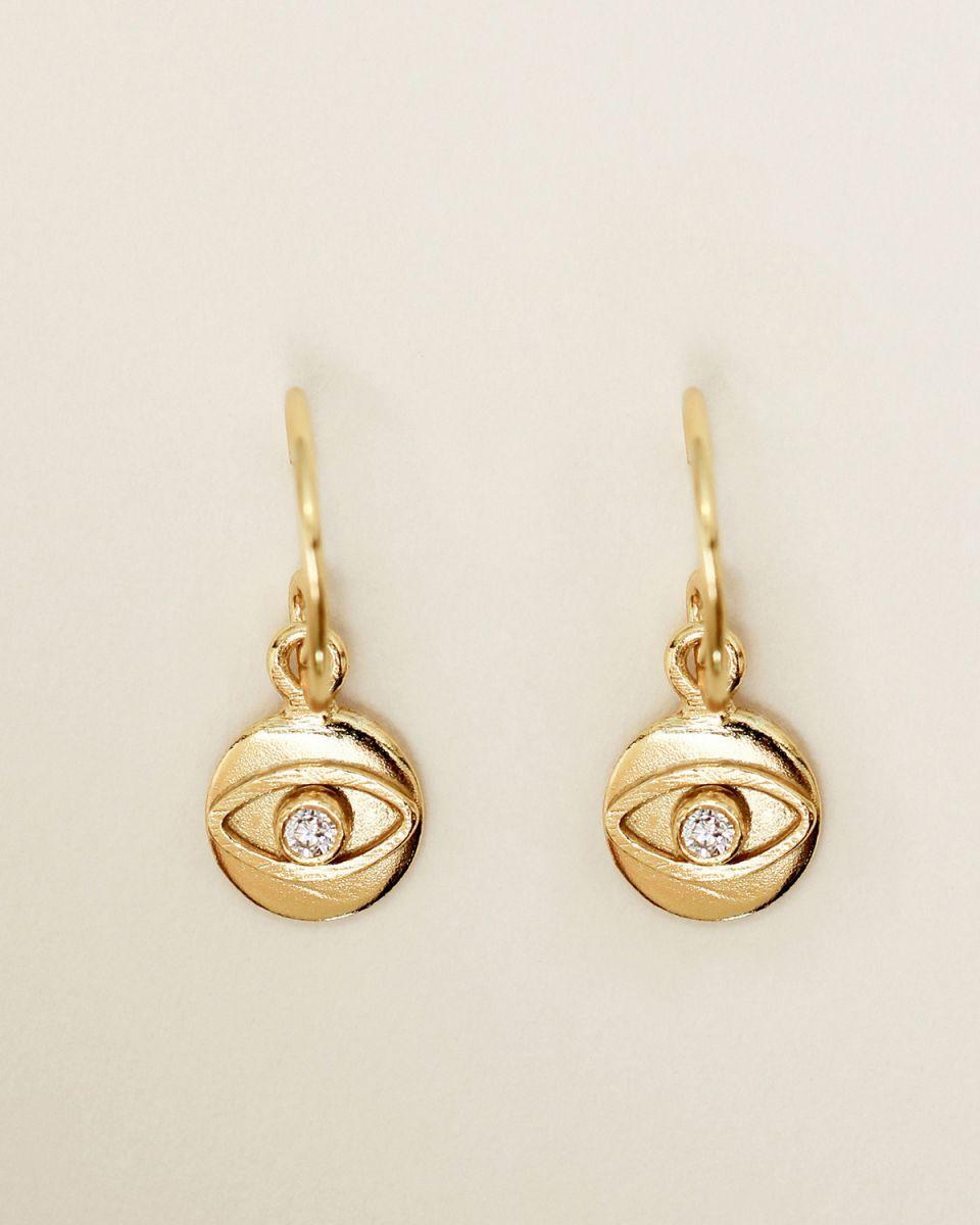 e earring 8mm coin eye zirkonia gold plated