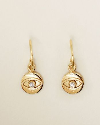 E- earring 8mm coin eye zirkonia gold plated