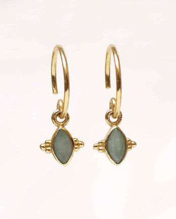 E- earring butterfly gem nefrite gold plated