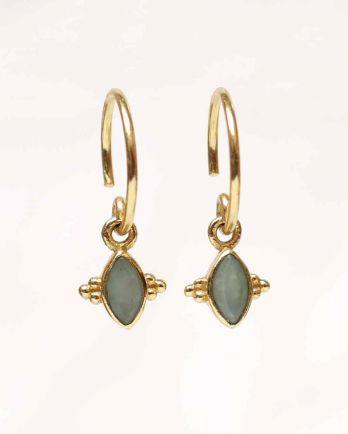 E- earring butterfly gem nefrite gold plated