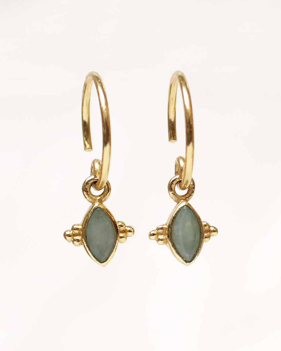 e earring butterfly gem nefrite gold plated