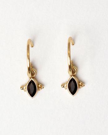 E- earring butterfly gem quartz gold plated