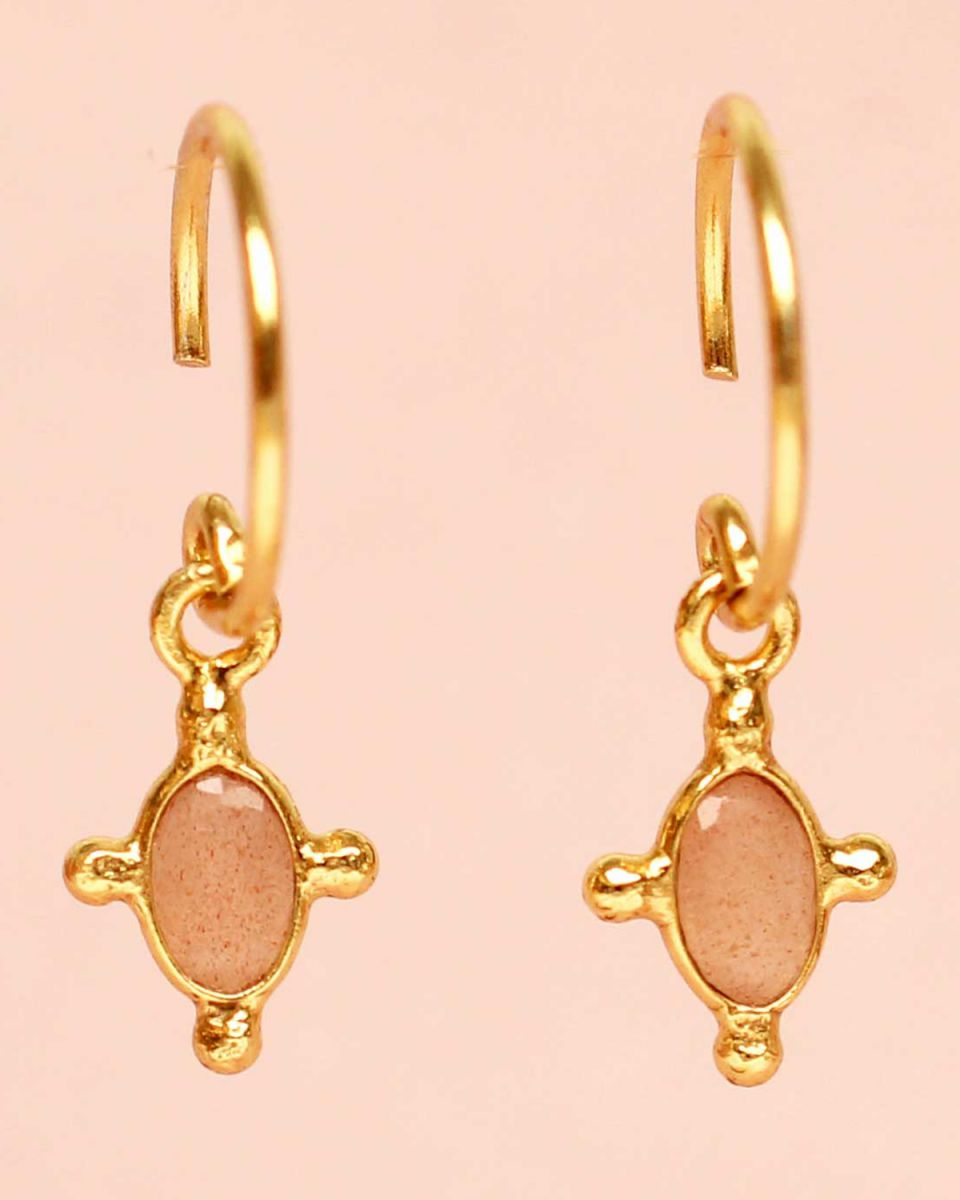 e earring hanging peach moonstone vertical oval and four si
