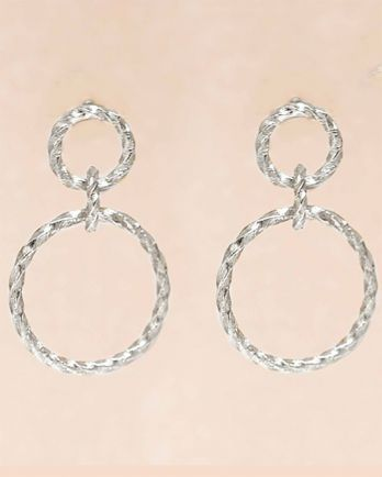 E- earring hanging stud two hoops hammered