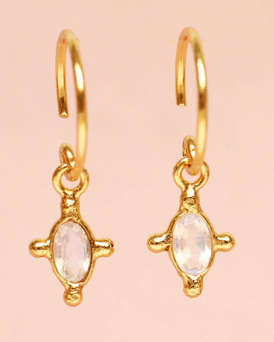 e earring hanging white moonstone vertical oval and four si