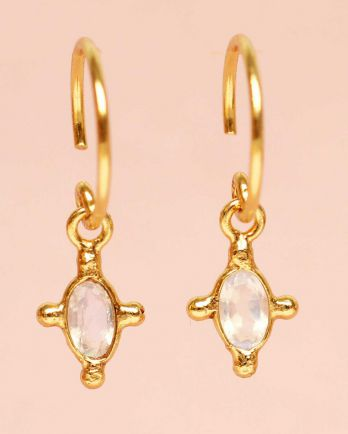 E- earring hanging white moonstone vertical oval and four si