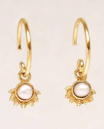 E- earring hanging white pearl dot with crown gold plated
