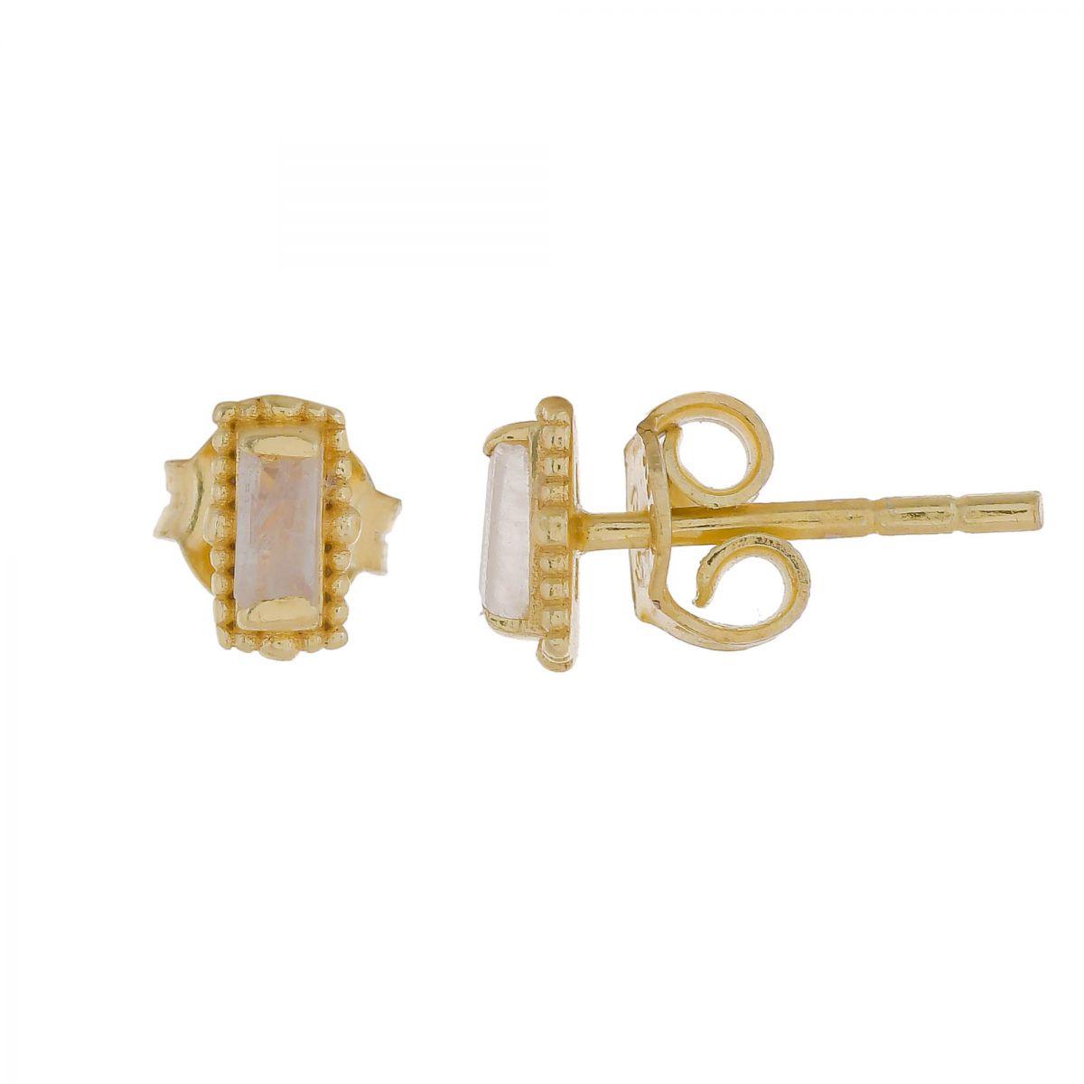 e earring moonstone stud gold plated