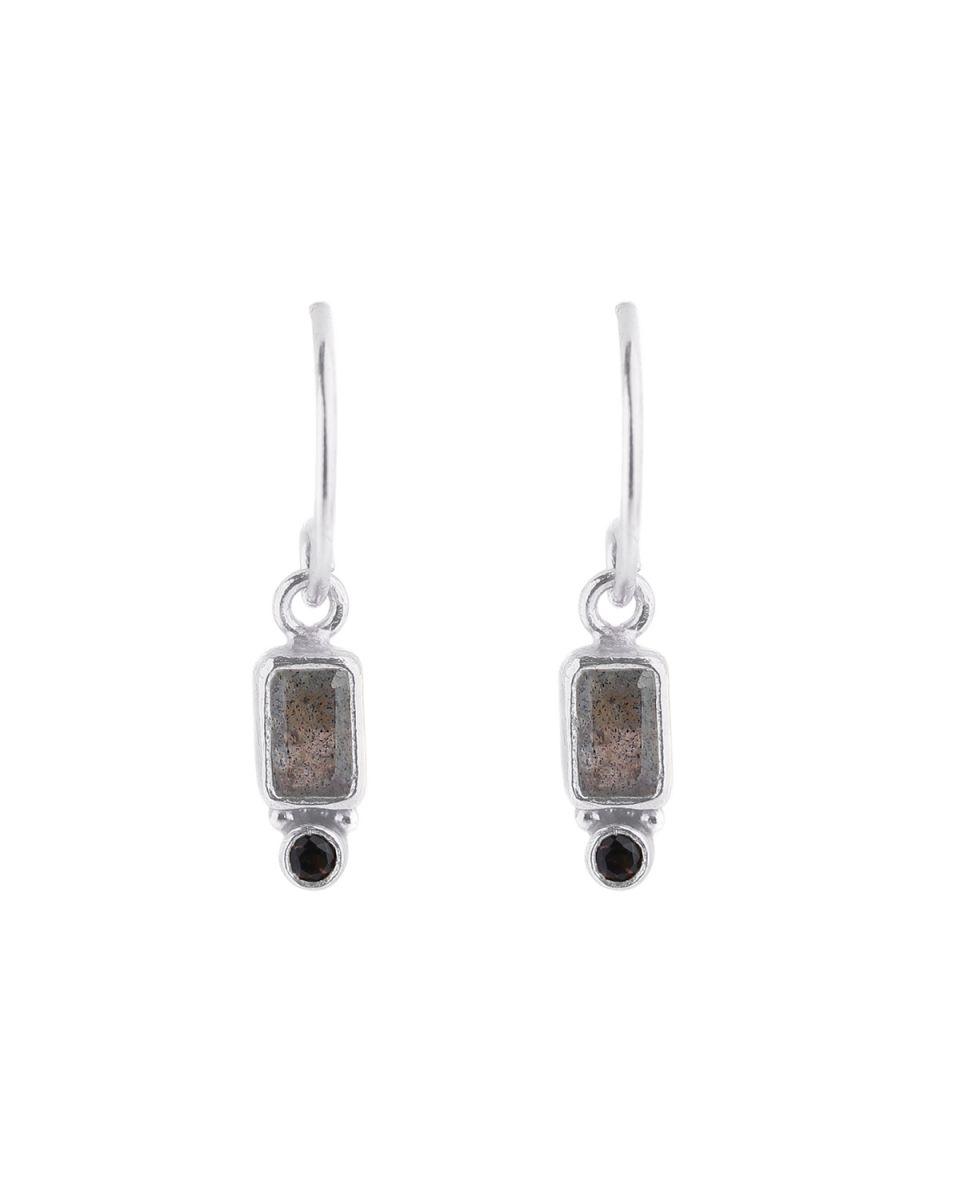 e earring pendant rectangle 2mm smokey quartz labradorite