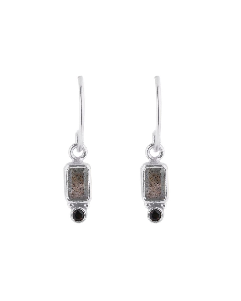 e earring pendant rectangle 2mm smokey quartz labradorite