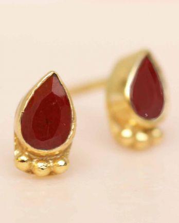 E- earring red jasper drop three balls gold plated