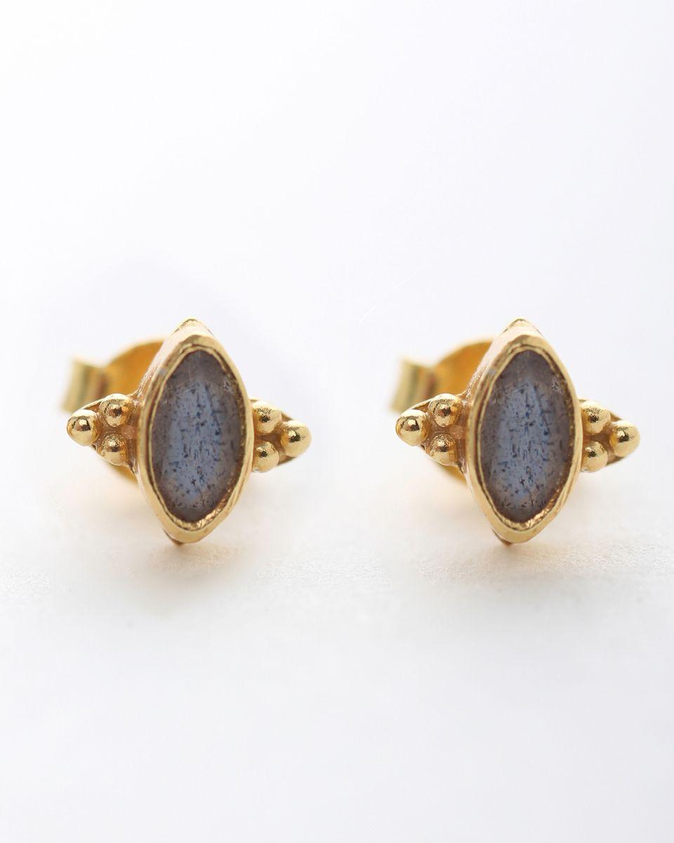 e earring stud butterfly gem labradorite gold plated