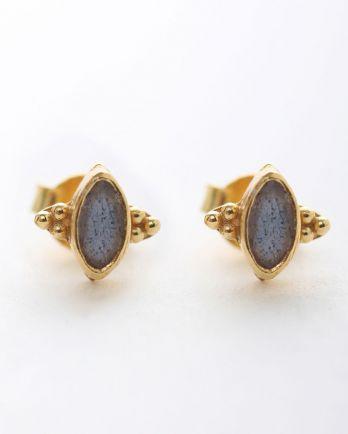 E- earring stud butterfly gem labradorite gold plated