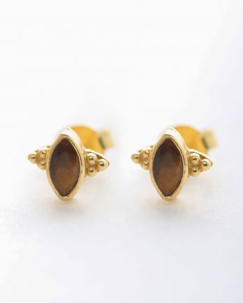 E- earring stud butterfly gem tiger eye gold plated