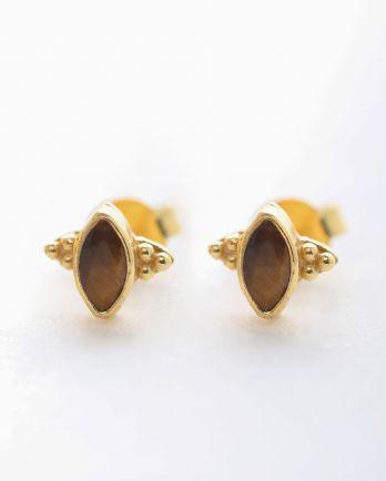 E- earring stud butterfly gem tiger eye gold plated
