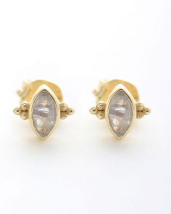 E- earring stud butterfly gem white moonstone gold plated